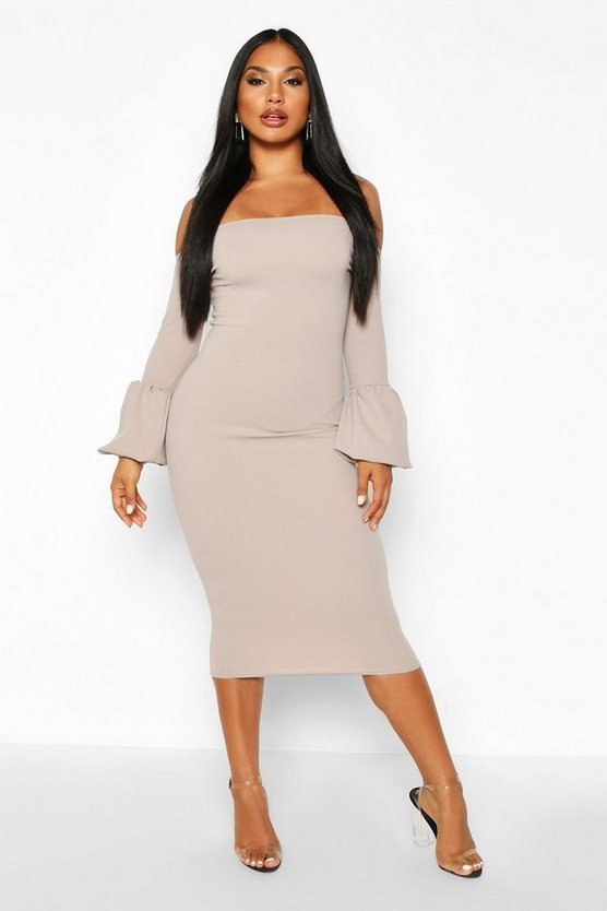Off The Shoulder Puff Sleeve Midi Dress