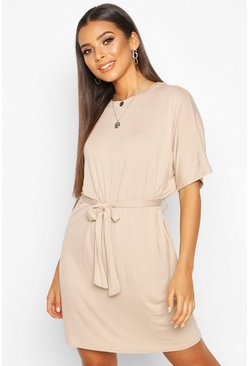 Stone Belted Jersey T-Shirt Dress