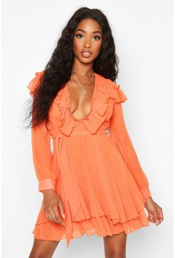 Rust Ruffle Front Chiffon Belted Skater Dress