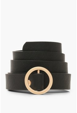Womens Black Skinny Buckle Belt
