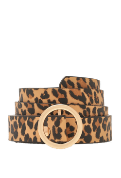 Womens Leopard Skinny Buckle Belt