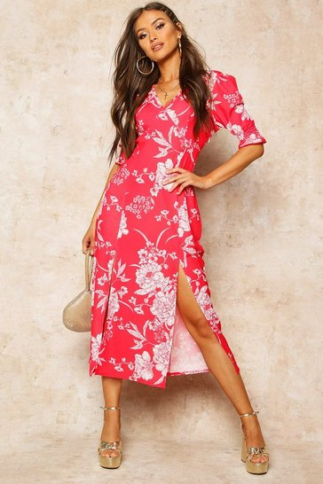 Red Floral Print Double Split Midi Dress