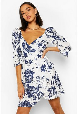 Blue Floral Print Puff Shoulder Tea Dress