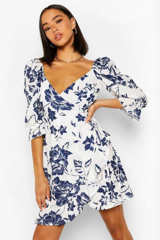 Floral Print Puff Shoulder Tea Dress