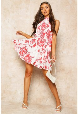 Womens Red Floral Print High Neck Skater Dress
