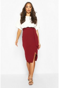 Womens Berry Batwing Colour Block Midi Dress