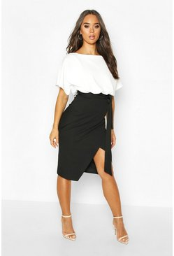 Black Batwing Colour Block Midi Dress