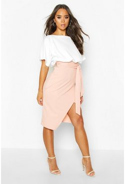 Womens Blush Batwing Colour Block Midi Dress