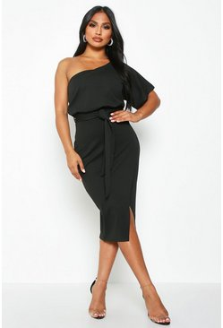 Black One Shoulder Batwing Midi Dress