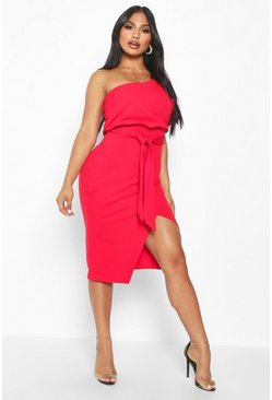 Womens Red One Shoulder Batwing Midi Dress
