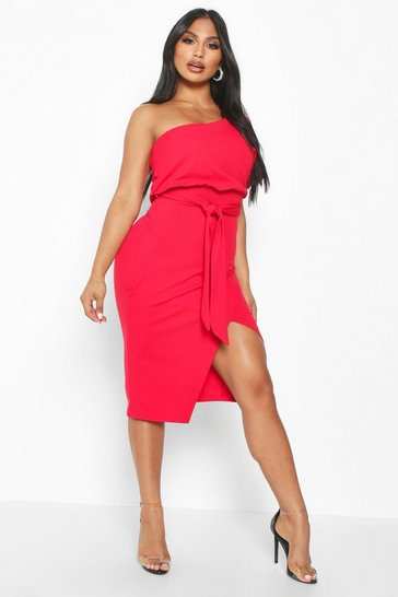 Red One Shoulder Batwing Midi Dress