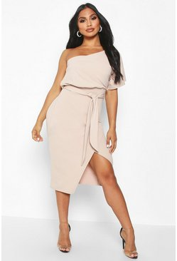 Stone One Shoulder Batwing Midi Dress