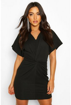 Black Crepe Twist Front Mini Dress