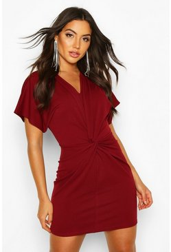 Red Crepe Twist Front Mini Dress