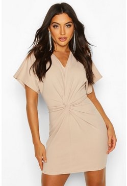 Womens Stone Crepe Twist Front Mini Dress