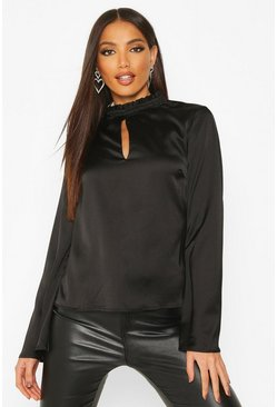 Black Satin Flare Sleeve High Neck Top