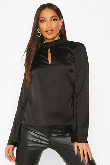 Womens Black Satin Flare Sleeve High Neck Top