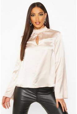 Womens Champagne Satin Flare Sleeve High Neck Top