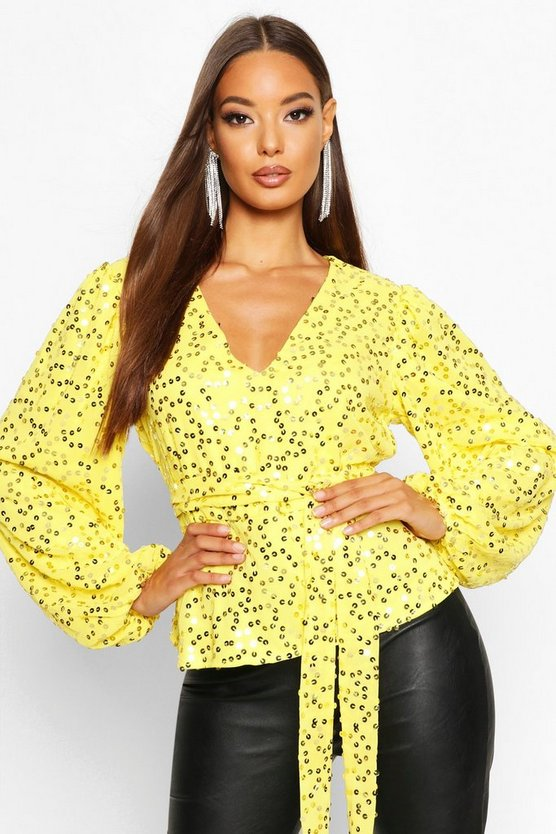 Yellow Neon Sequin Plunge Blouse
