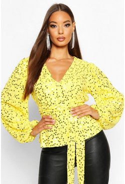 Womens Yellow Neon Sequin Plunge Blouse