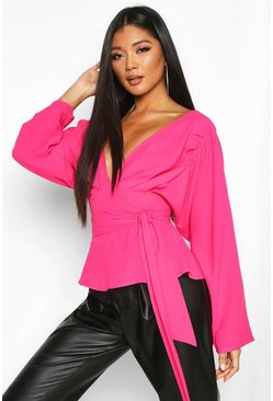 Womens Fuchsia Pleat Detail Wrap Blouse