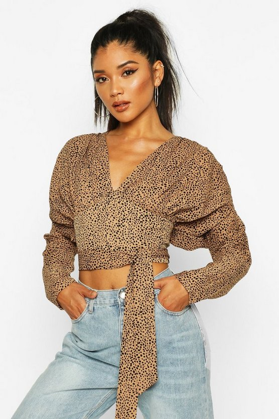 Spot Print Puff Sleeve Blouse by Boohoo