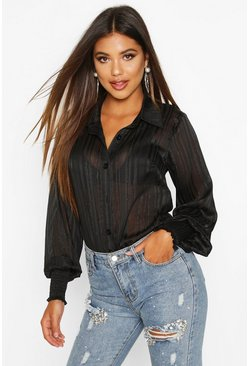 Black Stripe Shirred Cuff Shirt