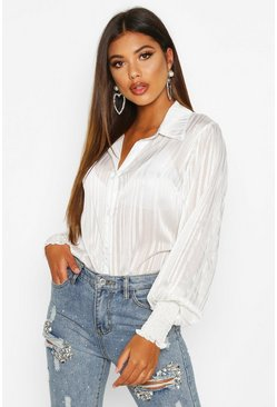 White Stripe Shirred Cuff Shirt