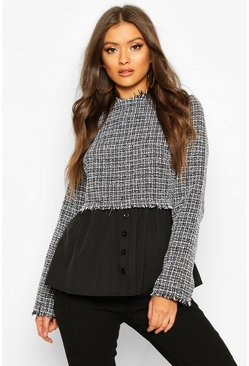 Grey Boucle High Neck Shirt