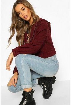 Dam Berry Cord Hooded Cropped Jacket
