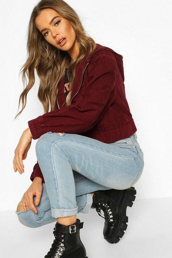 Cord Hooded Cropped Jacket