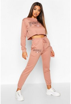 Womens Salmon Nashville Slogan Crop Sweat Tracksuit