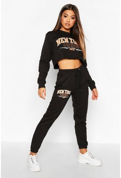 Black New York Slogan Crop Sweat Tracksuit