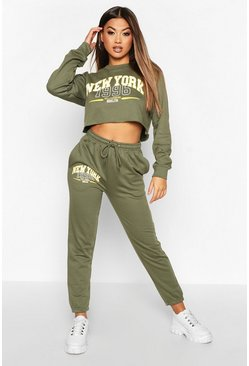 Khaki New York Slogan Crop Sweat Tracksuit
