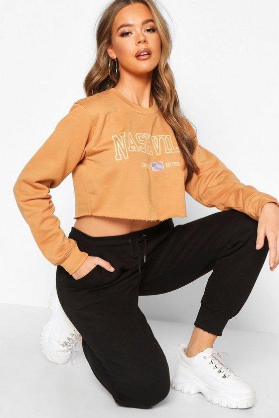 Nashville Slogan Crop Sweatshirt