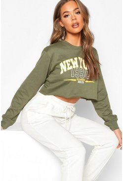 Womens Green New York Slogan Sweatshirt
