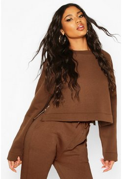 Chocolate Zip Split Side Crop Sweatshirt