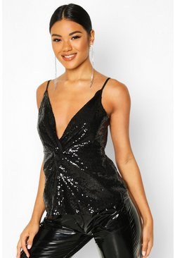Womens Black Neon Sequin Knot Front Cami