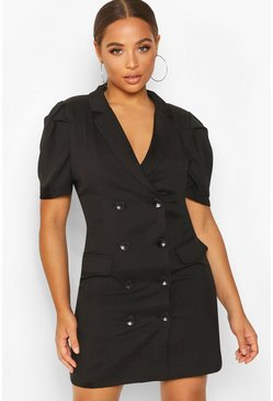 Black Double Breasted Puff Shoulder Blazer Dress