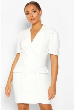 Womens Ivory Double Breasted Puff Shoulder Blazer Dress