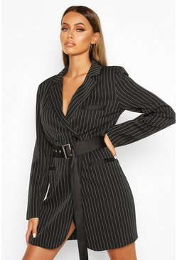 Black Pinstripe Belted Blazer Dress