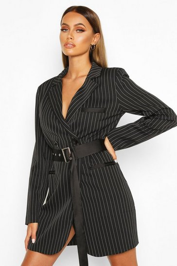 Womens Black Pinstripe Belted Blazer Dress