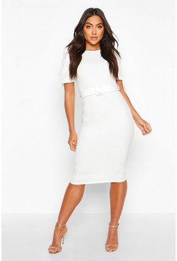Womens Ivory Belted Puff Sleeve Midi Dress