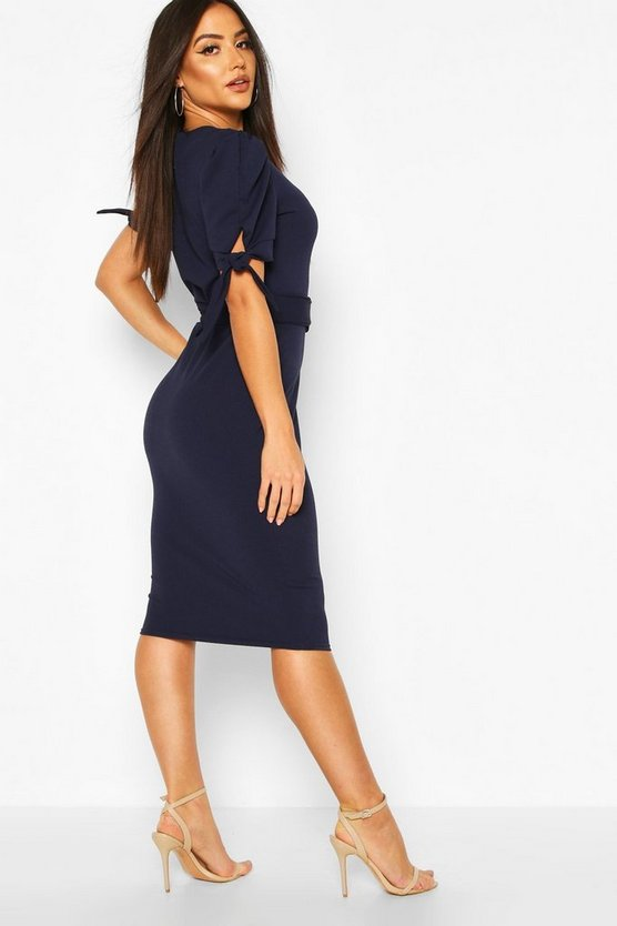 Belted Puff Sleeve Midi Dress