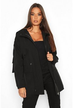 Black Utility Synch Waist Hooded Jacket