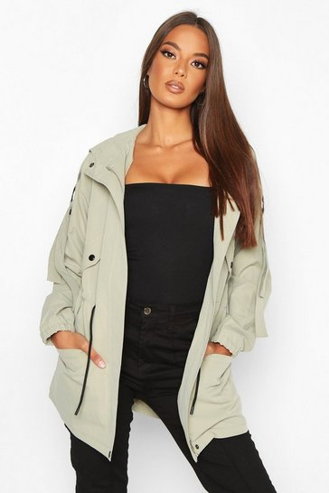 Womens Khaki Utility Synch Waist Hooded Jacket