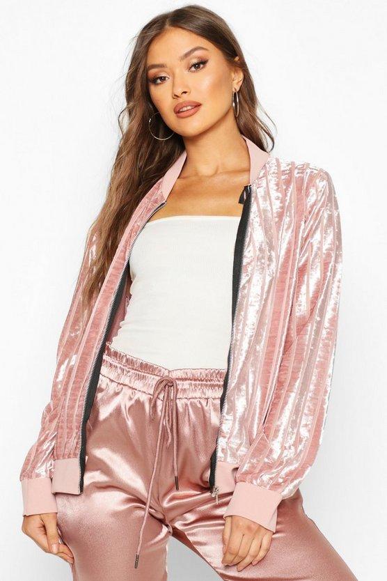 Velvet Mesh Stripe Bomber Jacket
