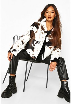 Womens White Cow Print Faux Fur Cropped Jacket