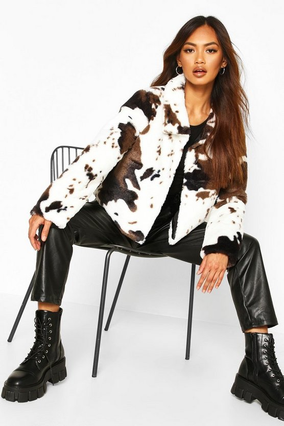Cow Print Faux Fur Cropped Jacket