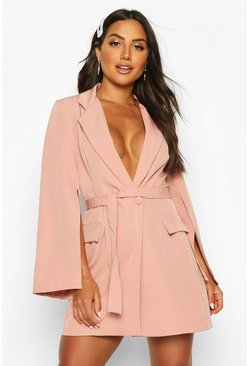 Womens Blush Split Sleeve Double Breasted Belted Blazer Dress